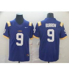 Men's LSU Tigers #9 Burrow Purple College Football Jersey