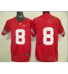 Buckeyes #8 Red Embroidered NCAA Jersey