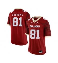 Oklahoma Sooners 81 Mark Andrews Red 47 Game Winning Streak College Football Jersey