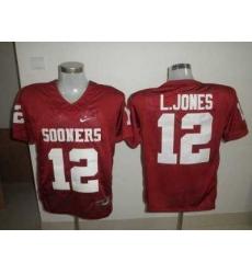 Sooners #12 Landy Jones Red Embroidered NCAA Jersey