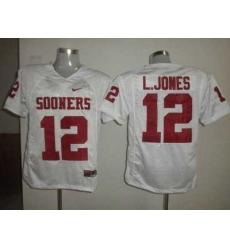 Sooners #12 Landy Jones White Embroidered NCAA Jersey
