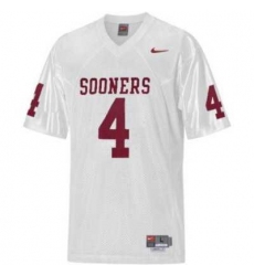 Sooners #4 White Embroidered NCAA Jersey