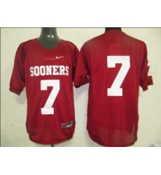 Sooners #7 Red Embroidered NCAA Jersey