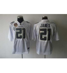 Ducks #21 LaMichael James White Embroidered NCAA Jersey