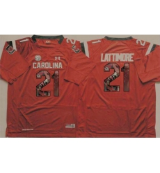 South Carolina Fighting Gamecocks #21 Marcus Lattimore Red Player Fashion Stitched NCAA Jersey