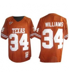 Longhorns #34 Ricky Williams Orange Embroidered NCAA Jersey