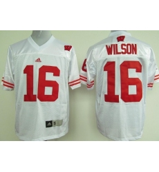 Wisconsin Badgers #16 Russell Wilson White NCAA Jersey