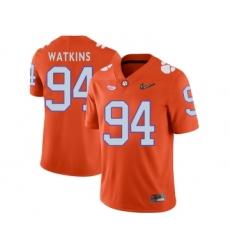 Clemson Tigers 94 Carlos Watkins Orange With Diamond Logo College Football Jersey