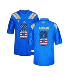 UCLA Bruins 8 Troy Aikman Blue USA Flag Blue College Football Authentic Jersey Blue