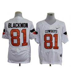 NCAA Oklahoma State Cowboys 81 blackmon white jerseys