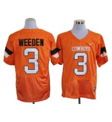 Oklahoma State Cowboys 3# Brandon Weeden Orange Pro Combat College Football NCAA Jerseys