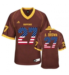 Central Michigan Chippewas #27 Antonio Brown Maroon USA Flag College Football Jersey