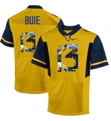 West Virginia Mountaineers #13 Andrew Buie Gold With Portrait Print College Football Jersey