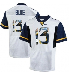 West Virginia Mountaineers #13 Andrew Buie White With Portrait Print College Football Jersey