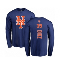 Baseball New York Mets #39 Edwin Diaz Royal Blue Backer Long Sleeve T-Shirt