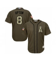 Men's Los Angeles Angels of Anaheim #8 Justin Upton Authentic Green Salute to Service Baseball Jersey