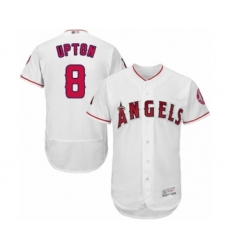 Men's Los Angeles Angels of Anaheim #8 Justin Upton White Home Flex Base Authentic Collection Baseball Jersey