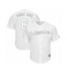 Men's Milwaukee Brewers #6 Lorenzo Cain  Three Kid$  Authentic White 2019 Players Weekend Baseball Jersey