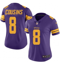 Women's Nike Minnesota Vikings #8 Kirk Cousins Limited Purple Rush Vapor Untouchable NFL Jersey