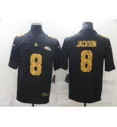 Men's Baltimore Ravens #8 Lamar Jackson Black Nike Leopard Print Limited Jersey