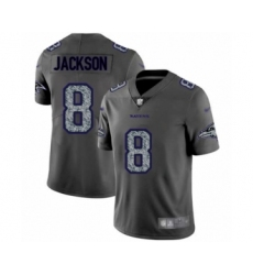 Men's Baltimore Ravens #8 Lamar Jackson Limited Gray Static Fashion Football Jersey