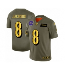 Men's Baltimore Ravens #8 Lamar Jackson Limited Olive Gold 2019 Salute to Service Football Jersey