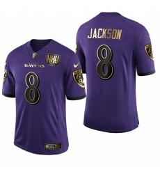 Men's Baltimore Ravens #8 Lamar Jackson Limited Olive Gold Football Jersey