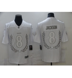 Men's Baltimore Ravens #8 Lamar Jackson Limited White Souvenir Edition Football Jersey