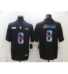 Men's Baltimore Ravens #8 Lamar Jackson Rainbow Version Nike Limited Jersey