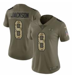 Women's Nike Baltimore Ravens #8 Lamar Jackson Limited Olive/Camo Salute to Service NFL Jersey