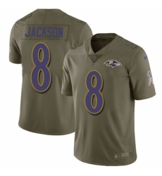 Youth Nike Baltimore Ravens #8 Lamar Jackson Limited Olive 2017 Salute to Service NFL Jersey