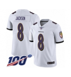 Youth Nike Baltimore Ravens #8 Lamar Jackson White Vapor Untouchable Limited Player 100th Season NFL Jersey