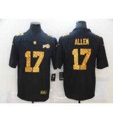 Men's Buffalo Bills #17 Josh Allen Black Nike Leopard Print Limited Jersey