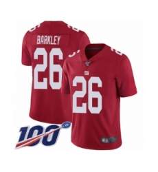 Men's New York Giants #26 Saquon Barkley Red Limited Red Inverted Legend 100th Season Football Jersey