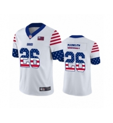 Men's New York Giants #26 Saquon Barkley White Independence Day Limited Football Jersey