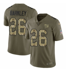 Men's Nike New York Giants #26 Saquon Barkley Limited Olive Camo 2017 Salute to Service NFL Jersey