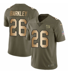 Men's Nike New York Giants #26 Saquon Barkley Limited Olive Gold 2017 Salute to Service NFL Jersey