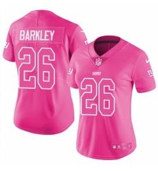 Women's Nike New York Giants #26 Saquon Barkley Limited Pink Rush Fashion NFL Jersey