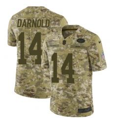 Men's Nike New York Jets #14 Sam Darnold Limited Camo 2018 Salute to Service NFL Jersey