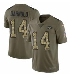 Men's Nike New York Jets #14 Sam Darnold Limited Olive/Camo 2017 Salute to Service NFL Jersey