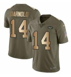 Men's Nike New York Jets #14 Sam Darnold Limited Olive/Gold 2017 Salute to Service NFL Jersey