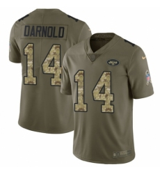 Youth Nike New York Jets #14 Sam Darnold Limited Olive/Camo 2017 Salute to Service NFL Jersey