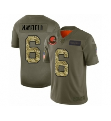 Men's Cleveland Browns #6 Baker Mayfield 2019 Olive Camo Salute to Service Limited Jersey