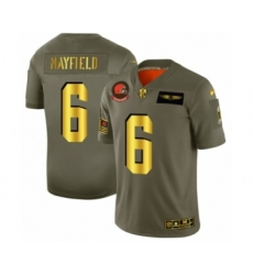 Men's Cleveland Browns #6 Baker Mayfield Limited Olive Gold 2019 Salute to Service Football Jersey