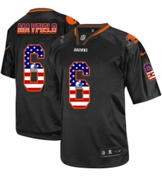 Men's Nike Cleveland Browns #6 Baker Mayfield Elite Black USA Flag Fashion NFL Jersey