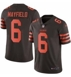Men's Nike Cleveland Browns #6 Baker Mayfield Elite Brown Rush Vapor Untouchable NFL Jersey