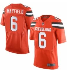 Men's Nike Cleveland Browns #6 Baker Mayfield Elite Orange Alternate NFL Jersey
