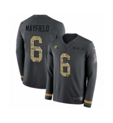 Men's Nike Cleveland Browns #6 Baker Mayfield Limited Black Salute to Service Therma Long Sleeve NFL Jersey