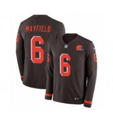 Men's Nike Cleveland Browns #6 Baker Mayfield Limited Brown Therma Long Sleeve NFL Jersey