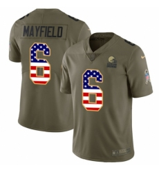 Men's Nike Cleveland Browns #6 Baker Mayfield Limited Olive USA Flag 2017 Salute to Service NFL Jersey